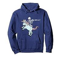 Skeleton Riding Zombie Unicorn Cute Halloween Tank Top Shirts Hoodie Navy