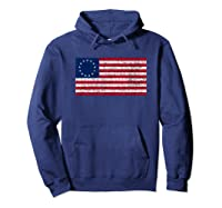 Distressed Betsy Ross Flag T Shirt Hoodie Navy