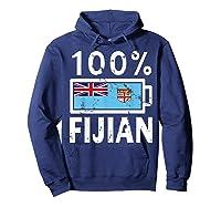 Fiji Flag T Shirt 100 Fijian Battery Power Tee Hoodie Navy