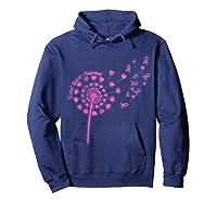 Dandelion Breast Cancer Awareness T Shirt Hoodie Navy