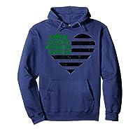 Saint Patricks Day Us Flag Four Leaf Clover Shamrock T Shirt Hoodie Navy