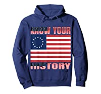 Betsy Ross Flag 1776 Vintage American Know Your History T Shirt Hoodie Navy