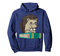 Cute Unique Bookworm Reading Hedgehog Gift Shirts Hoodie Navy