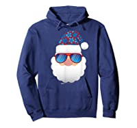 Cool Santa Emoticon In Sunglasses Christmas In July T Shirt Hoodie Navy