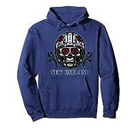 New England Football Helmet Sugar Skull Day Of The Dead Shirts Hoodie Navy