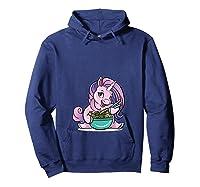 Kawaii Baby Unicorn Eating Ra Noodles Food Gift T-shirt Hoodie Navy