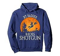 Badger Rides Shotgun Animal Lover Halloween Party Gift Shirts Hoodie Navy