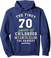 70th Birthday Funny Gift Life Begins At Age 70 Years Old T-shirt Hoodie Navy