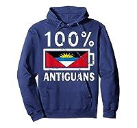 Antigua Barbuda Flag Shirt 100 Antiguans Battery Power Hoodie Navy