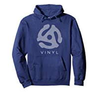45 Rpm Record Adapter T Shirt - With Speaker Mesh Effect Hoodie Navy