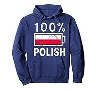 Poland Flag T Shirt 100 Polish Battery Power Tee Hoodie Navy