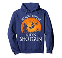 Dogo Cubano Rides Shotgun Dog Lover Halloween Party Gift T-shirt Hoodie Navy