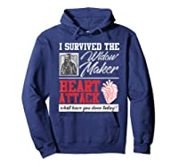 Open Heart Surgery Survivor Widow Maker Heart Attack Shirts Hoodie Navy