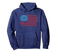 Distressed Betsy Ross Us American Flag Shirt For 4th Of July Premium T-shirt Hoodie Navy