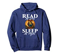 Sleep All Day Read All Night Bookish Read A Book Day Owl Premium T Shirt Hoodie Navy