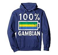 Gambia Flag T Shirt 100 Gambian Battery Power Tee Hoodie Navy