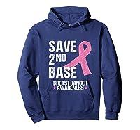 Save 2nd Base Breast Cancer Awareness Month Pink Ribbon Gift Tank Top Shirts Hoodie Navy