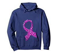 Breast Cancer Awareness Month Pink Ribbon Heart T Shirt Hoodie Navy