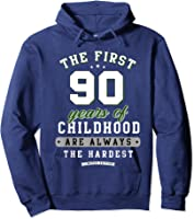 90th Birthday Funny Gift Life Begins At Age 90 Years Old T-shirt Hoodie Navy