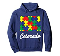 Autism Awareness Day Colorado Puzzle Pieces Gift Shirts Hoodie Navy