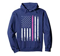 Stars Stripes Thin Pink Line Breast Cancer Awareness Month T Shirt Hoodie Navy