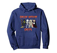 Chillin With My Creeps Vampire Halloween Skeleton Witch Gift Shirts Hoodie Navy