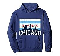 Chicago Flag Skyline Shirt Chi Town Pride City Flag Gift T Shirt Hoodie Navy