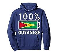 Guyana Flag T Shirt 100 Guyanese Battery Power Tee Hoodie Navy