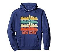 Retro New York City Skyline Pop Art Shirt Hoodie Navy