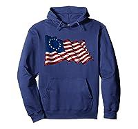 America Betsy Ross Flag 1776 Vintage Distressed T Shirt Hoodie Navy