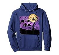 Dark Spooky Night Black Cat With Bats Halloween Shirts Hoodie Navy