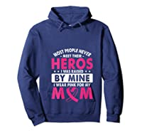 I Was Raised By Mine I Wear Pink For My Mom Breast Cancer T Shirt Hoodie Navy
