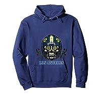 La Los Angeles Football Helmet Sugar Skull Day Of The Dead T Shirt Hoodie Navy