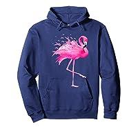 Funny Flamingo Breast Cancer Awareness October Ribbon Pink Premium T Shirt Hoodie Navy