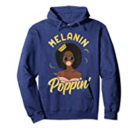 Melanin Poppin Black Girl Magic Bubblegum Afro Shirts Hoodie Navy