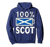 Scotland Flag T Shirt 100 Scot Battery Power Tee Hoodie Navy