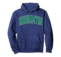 Binghamton T Shirt Ny Varsity Style Green Text Hoodie Navy
