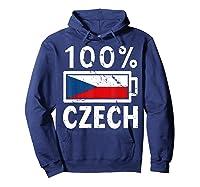Czech Republic Flag Shirt 100 Czech Battery Power Tee Hoodie Navy