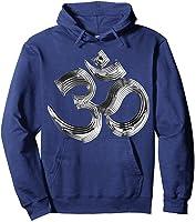 Om Yoga Chrom Zeichen   Buddha Vishnu Liebe Schwarz Weiß T-shirt Hoodie Navy