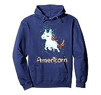 Americorn 4th Of July Patriot Usa Unicorn Lovers Funny Gift Premium T-shirt Hoodie Navy