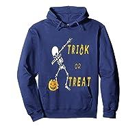 Trick Or Treat Dabbing Skeleton Pumpkin Bucket Halloween Dab Shirts Hoodie Navy