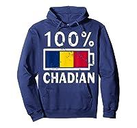 Chad Flag T Shirt 100 Chadian Battery Power Tee Hoodie Navy