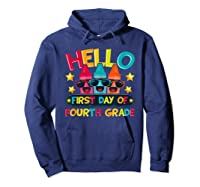 Hello First Day Of Fourth Grade Cute Crayon Student Tea Shirts Hoodie Navy