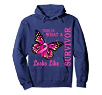 This Is What A Survivor Looks Like Breast Cancer Awareness T Shirt Hoodie Navy