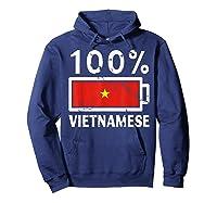 Vietnam Flag T Shirt 100 Vietnamese Battery Power Tee Hoodie Navy