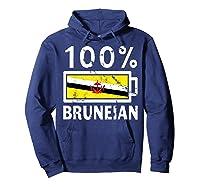 Brunei Flag T Shirt 100 Bruneian Battery Power Tee Hoodie Navy