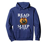 Sleep All Day Read All Night Bookish Read A Book Day Owl Tank Top Shirts Hoodie Navy