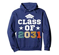 Vintage First Grade 2019 Class Of 2031 Apparel Grow With Me Shirts Hoodie Navy