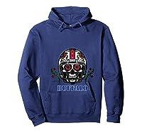 Buffalo Football Helmet Sugar Skull Day Of The Dead T Shirt Hoodie Navy