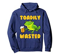 Funny Frog Drink Beer Toadily Wasted Beer Party Gift T Shirt Hoodie Navy